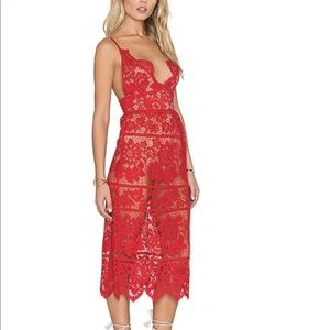 For Love & Lemons Gianna Dress, Red Lace